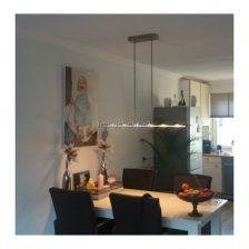 Hanglamp Vigo LED mat staal zwart glas 1 meter