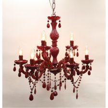 kroonluchter 9 lichts rood Maria Theresa mt