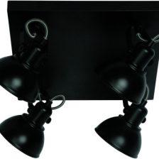 LED spot Santo zwart PL 7644 Z plaat 4 lichts dimbaar