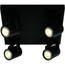 LED spot Vablo zwart PL 9944 Z plaat 4 lichts dimbaar