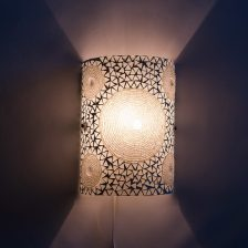 Oosterse wandlamp mozaiëk wit met beads