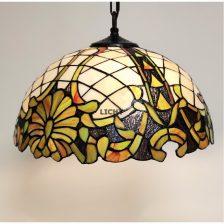 Tiffany hanglamp Pola wit groen 41cm